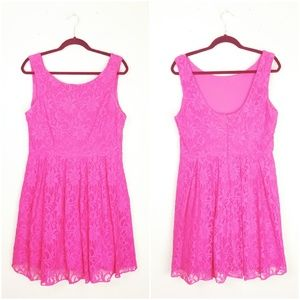 HAILEY Hot Pink Lace Fit & Flare Skirt